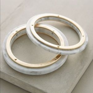 Anthropologie marble and brass bangles (lucite)